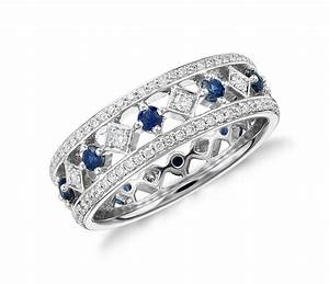 Sapphire and diamond eternity ring in 18k white gold for Engagement wedding and eternity ring