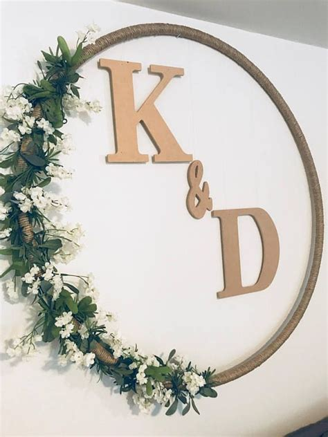 huge  personalized hoop wreath wedding decor wedding gift reception decor room decor