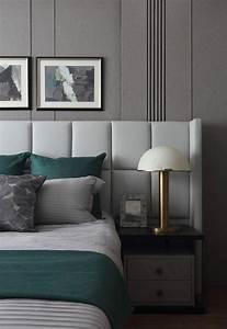 Bett Mit Nachttisch : bett kopfteil leder helles grau mit integriertem ~ Watch28wear.com Haus und Dekorationen