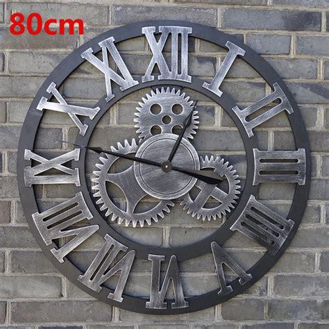horloge cuisine vintage 80cm large wall clock saat 3d gear clock wooden duvar