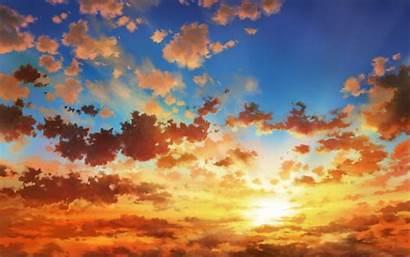Sunset Clouds Anime Sky Landscape Wallpapers Desktop