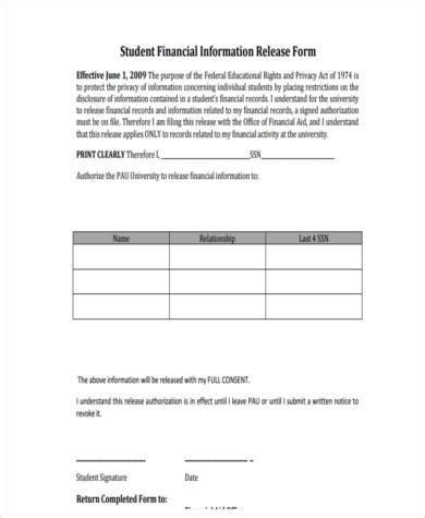 release of financial information form sle financial information release forms 8 free