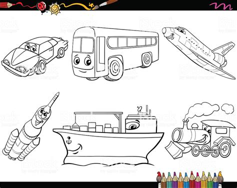 transport vehicles coloring page stock vector art