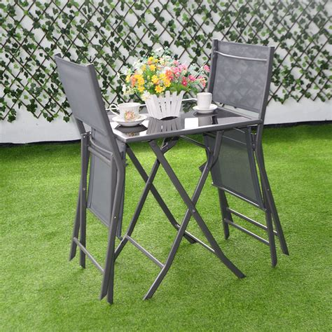 Outdoor Table And Chairs Set by 3pcs Bistro Set Garden Backyard Table Chairs Outdoor Patio