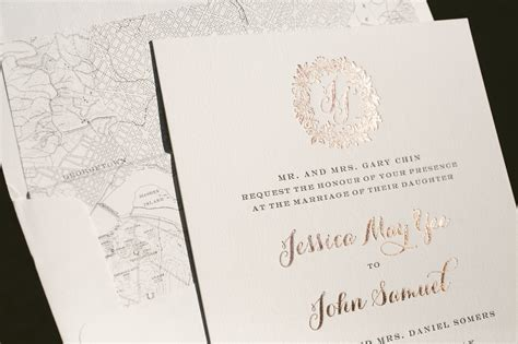 Rose Gold Wedding Invitations With Floral Wreath