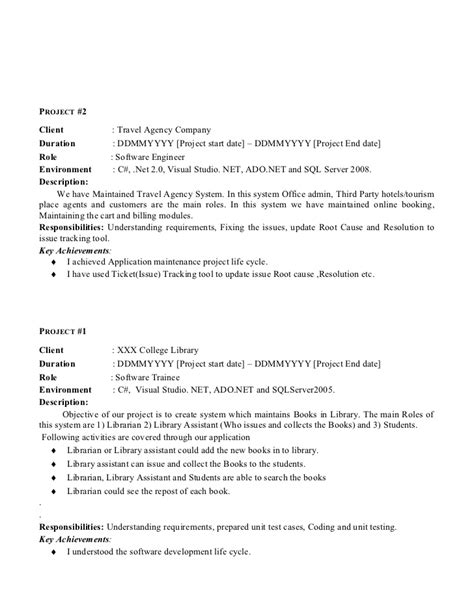 Asp Net Resume For Experienced by Resume Format For Experienced In Asp Net