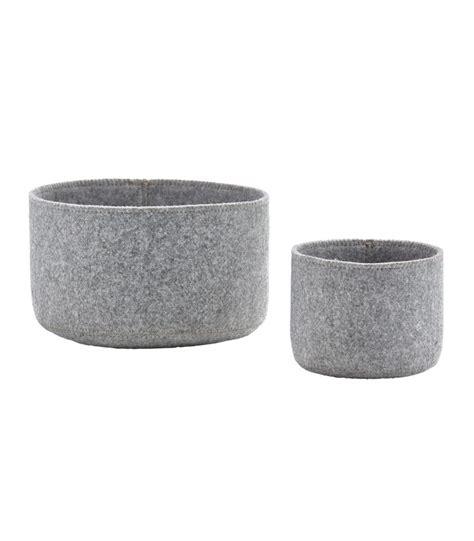 paniers de rangement pour salle de bain en feutre gris set de 2