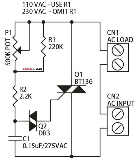 Triac Based Indecent Lamp Dimmer Simple Circuit