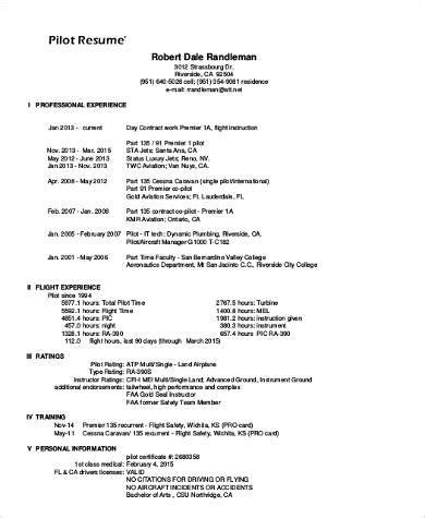 Professional Pilot Resume sle pilot resume 6 exles in word pdf