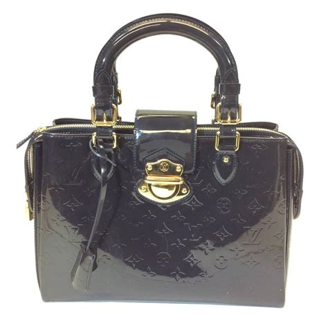 louis vuitton navy patent leather  piece monogrammed