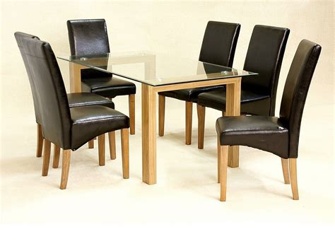 glass dining table and 6 chairs clear large set oak wood finsh
