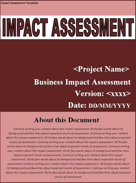 impact assessment templates  word templates