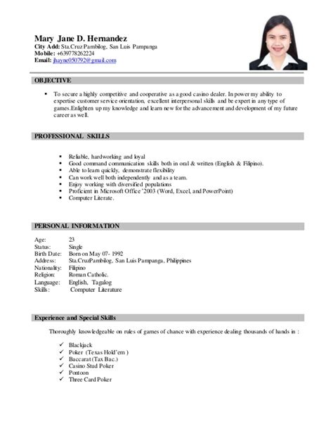 Resume For Casino Dealer by Resume Jhayne 1
