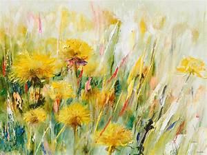 Blumen Gemälde In öl : blumen lgem lde mit modernem kunst stil in gelb gr n ~ A.2002-acura-tl-radio.info Haus und Dekorationen