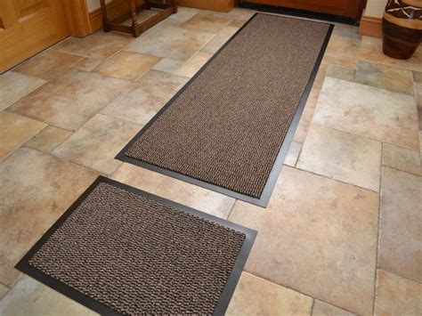 Dark Beige Non Slip Kitchen Runner Rug & Door Mat Set