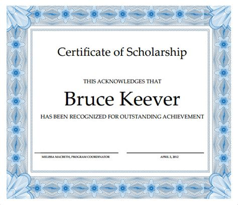 scholarship certificate templates  samples