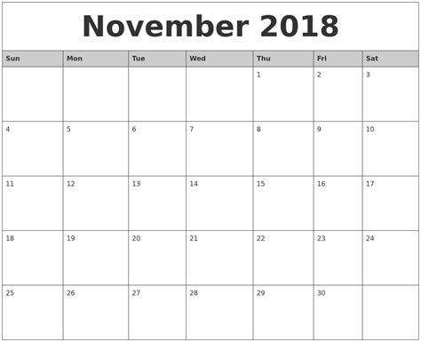 november monthly calendar printable