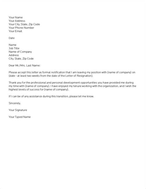 FREE 38+ Resignation Letter Samples & Templates in MS Word   PDF