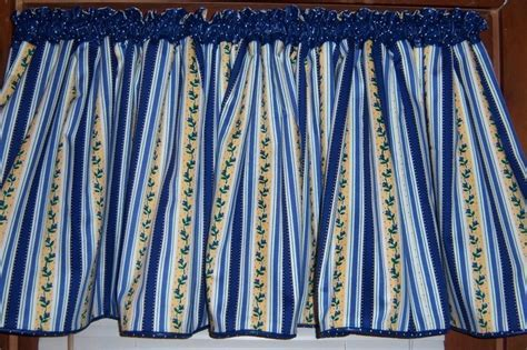Wide Blue/ Yellow/ White Striped Kitchen Valance   FREE 4