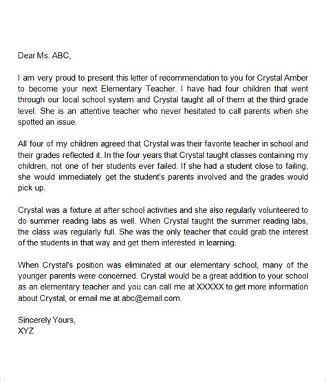 letter  recommendation elementary teacher letter