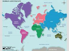Continents Map, World Map Continents, Map of Continents, 7