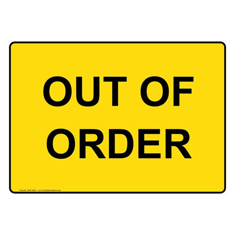 out of order sign nhe 8645 restroom closed out of order