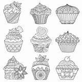 Cupcake Coloring Cupcakes Adult Cakes Cup Adults Colorare Disegni Originaux Coloriage Colorear Kleurplaten Printable Assortiment Volwassen Adulte Malbuch Erwachsene Fur sketch template