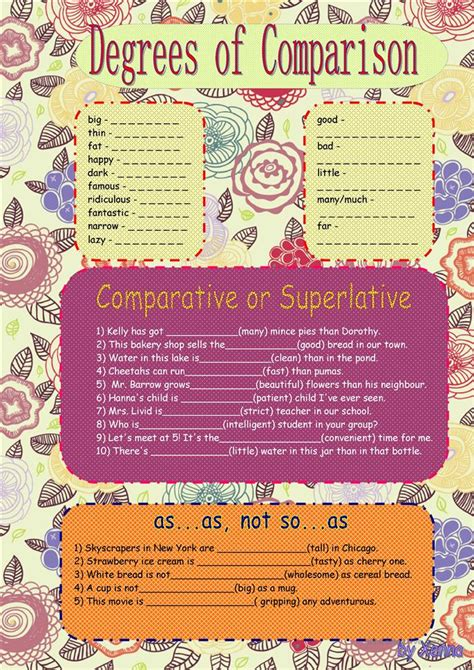 degrees  comparison  adjectives worksheet  esl