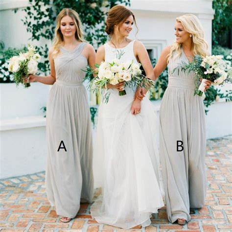 light grey bridesmaid dresses long a line v neck long light grey chiffon bridesmaid dress