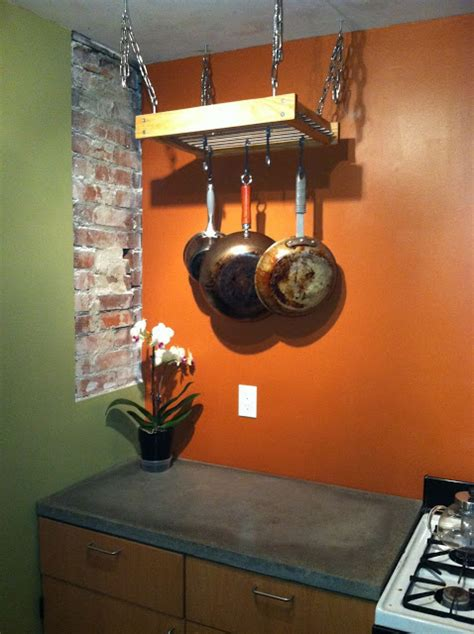 simple hanging pot rack hack ikea hackers
