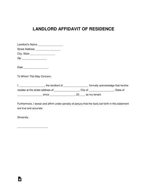 landlord proof  residency letter  word