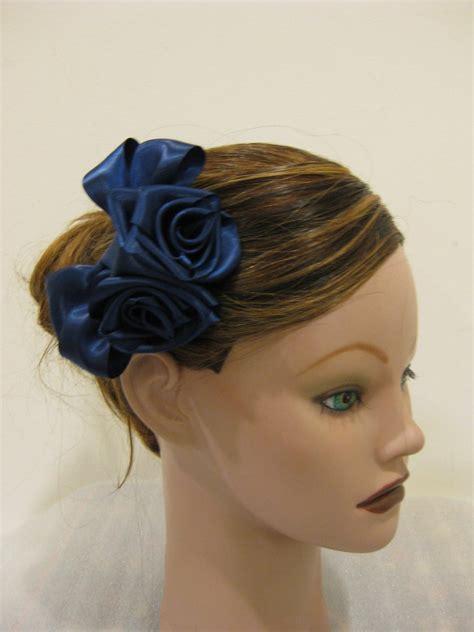 navy blue satin rose hair bow clip barrette bridesmaid