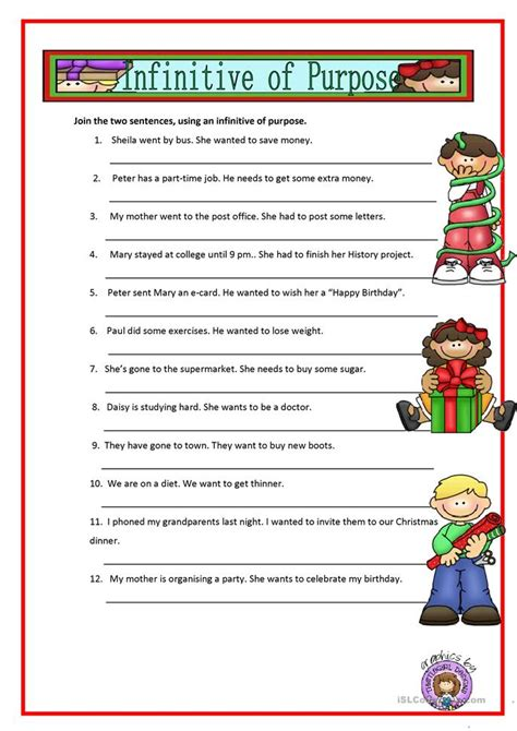 infinitive  purpose worksheet  esl printable