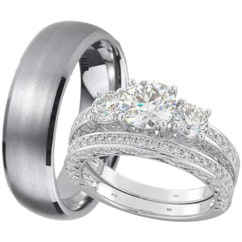 new his and hers titanium 925 sterling silver wedding engagement ring band ebay