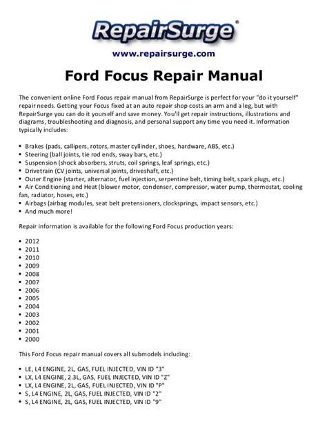 ford focus repair manual 2000 2012
