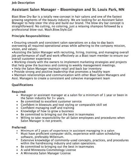 Salon Manager Roles And Responsibilities by Pin By Ririn Nazza On Free Resume Sle Free Resume