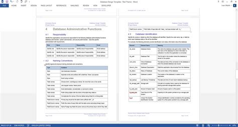 Design Document Template Database Design Document Template