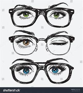 Set Hand Drawn Womens Eyes Hipster Stock Vector 392823508 ...