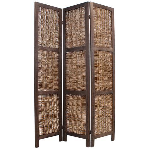 Wooden Framed Wicker Room Divider Privacy Screenpartition