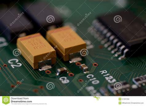 Close Tantalum Capacitors Pcb Stock Photo Image
