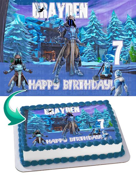 fortnite ice king edible cake image topper personalized