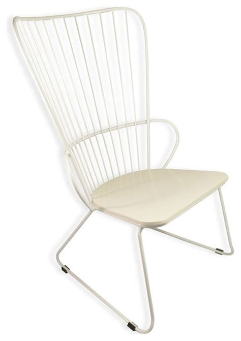 rector vintage white frame lounger chair metal wire wood
