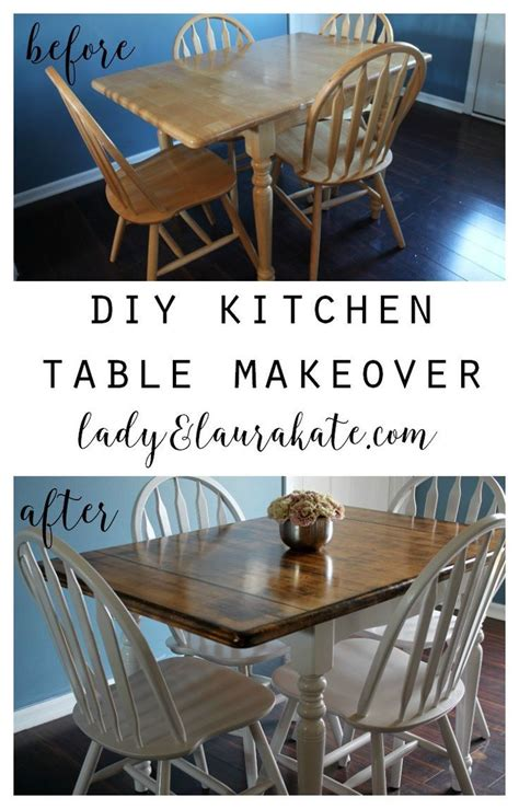 painted  stained kitchen table makeover refurbished