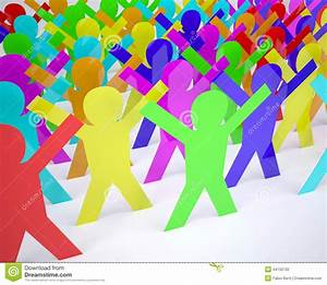 Many People Cartoon Silhouette Colored Stock Illustration