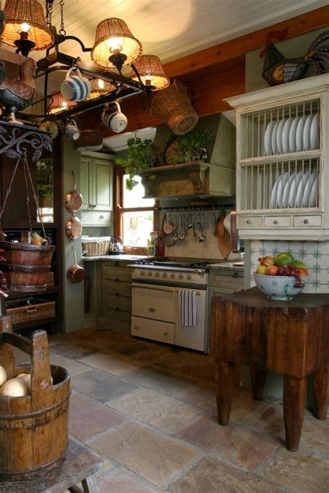 rustic country kitchen lovely stone floor vintage style stove   butcher block