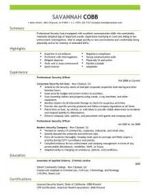 resume sle for armed security guard professional security guard resume recentresumes