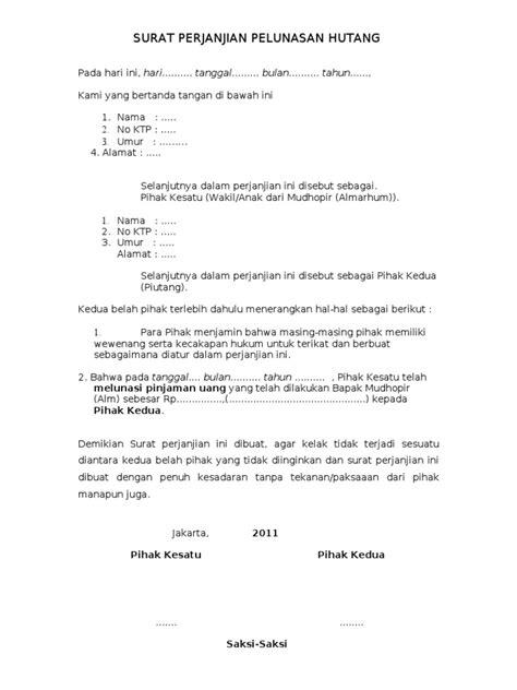 contoh surat pernyataan hutang piutang zentoh