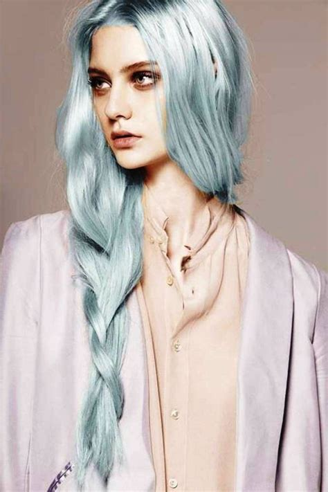 grey blue hair color trend  women