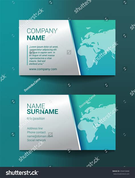 business card template world map stock vector