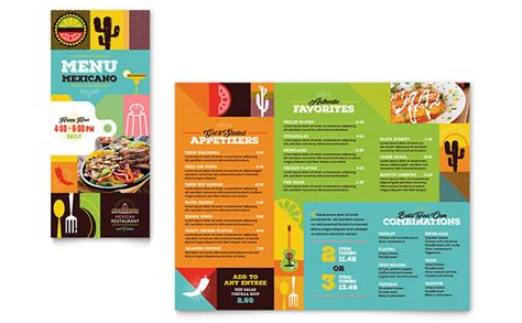 Menu Brochure Template Word by Mexican Food Cantina Take Out Brochure Template Design